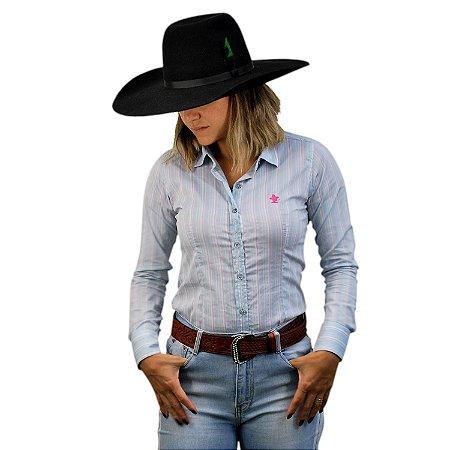 Camisa Manga Longa Sacudido's Feminina Listrada - Lilás