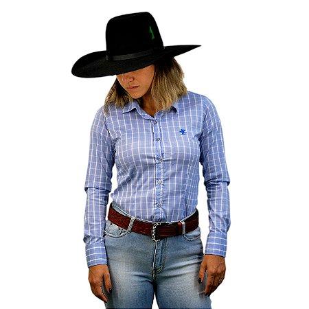 Camisa Manga Longa Sacudido's Feminina Xadrez - Azul