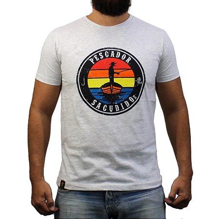 Camiseta Sacudido's - Pescador - Cinza Claro Mescl