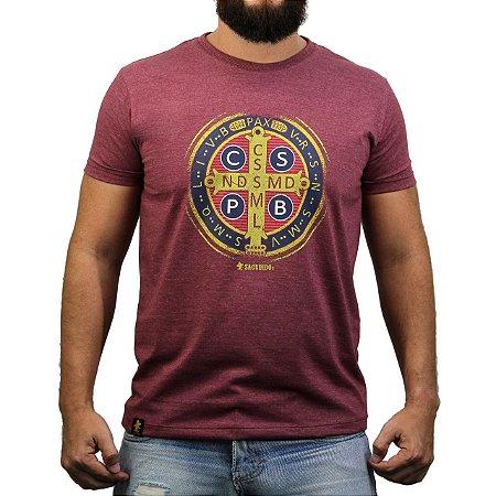 Camiseta Sacudido's - Medalha de São Bento - Vinho