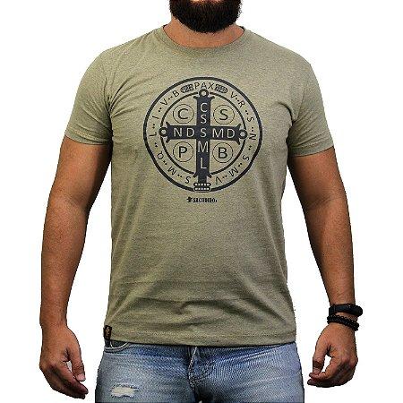 Camiseta Sacudido's - Medalha de São Bento - Charuto Mescla