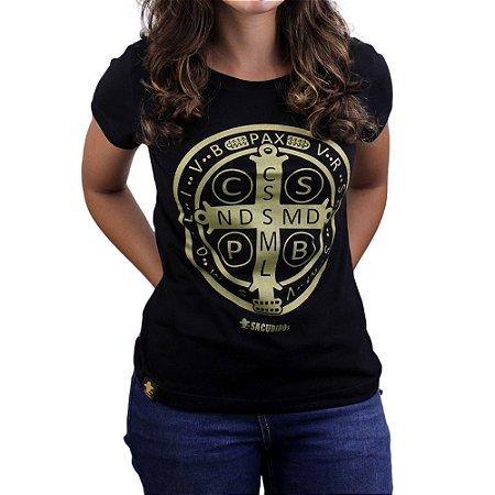 Camiseta Sacudido's Feminina - São Bento - Preto