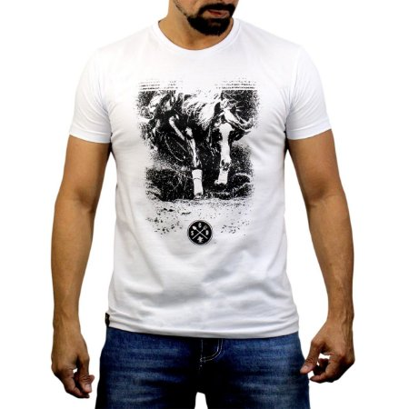Camiseta Sacudido's - Cavalo Montado - Branco
