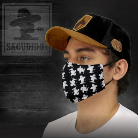 Kit 3 Máscaras Sacudido´s - Logo Sublimado - Preta