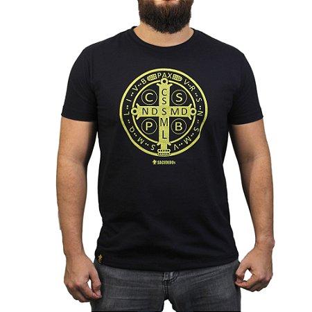 Camiseta Sacudido's - Medalha de São Bento - Preto
