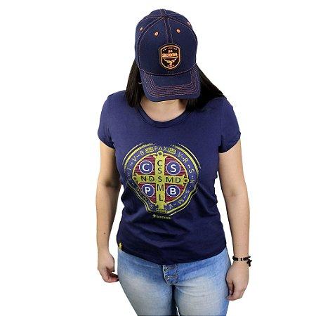 Camiseta Sacudido's Feminina - São Bento - Marinho