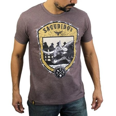 Camiseta Sacudido´s - Touro Rodeio - Café mescla