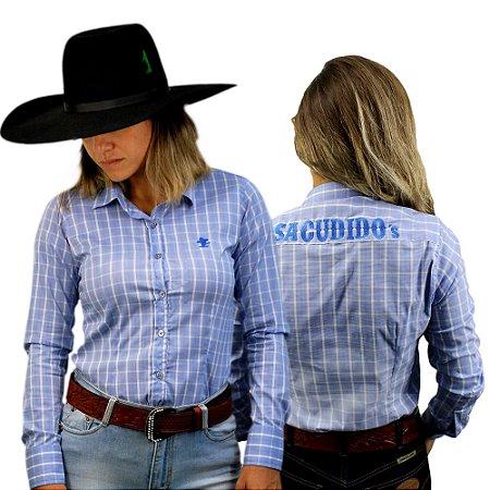 Camisa Manga Longa Sacudido's Feminina Xadrez - Bordada