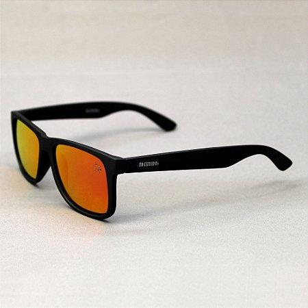 Óculos Sacudido´s - Preto Fosco Liso-Lente Laranja