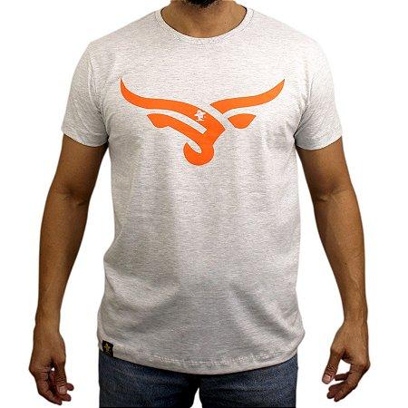 Camiseta Sacudido´s - Boi Estilizado-Cinza/Laranja