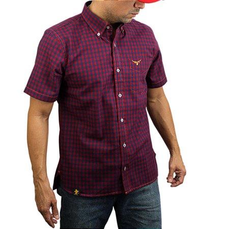 Camisa Manga Curta Sacudido's Xadrez - Vermelho/Marinho