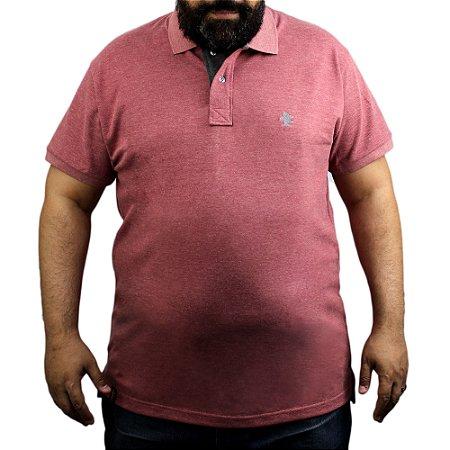 Camiseta Polo Sacudido's - Vinho Mescla com Preto