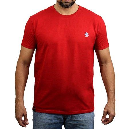 Camiseta Sacudido's - Básica - Vermelho e Cimento