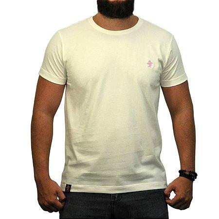 Camiseta Sacudido's - Básica - Off White e Rosa