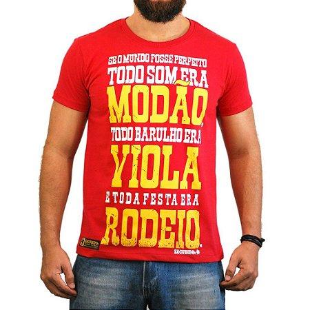 Camiseta Sacudidos - Modão, Viola, Rodeio - Vermelho