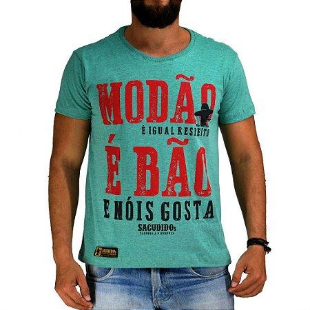Camiseta Sacudido's - Modão é Bão - Verde Mescla