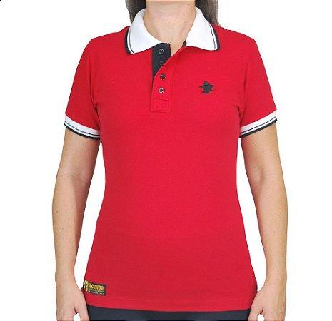 Camiseta Polo Feminina Sacudido's Elastano - Vermelho Gola Branca
