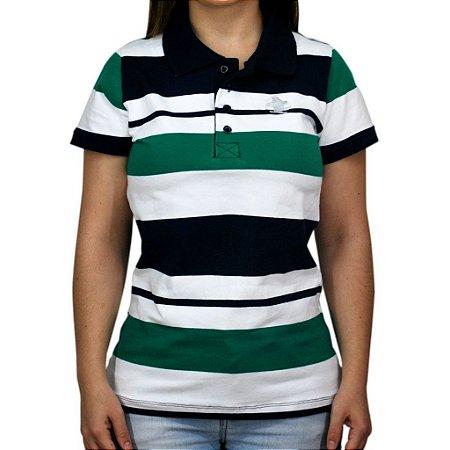 Camiseta Polo Feminina Sacudido's Elastano - Cinza