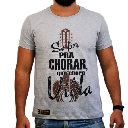 Camiseta Sacudido's - Chora Viola - Cinza Mescla