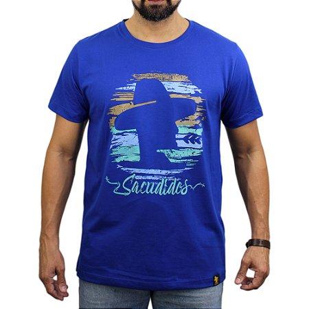 Camiseta Sacudido's - Logo Colorido - Azul França