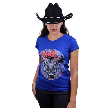 Camiseta Sacudido's Feminina - Vaquinha Lenço - Azul