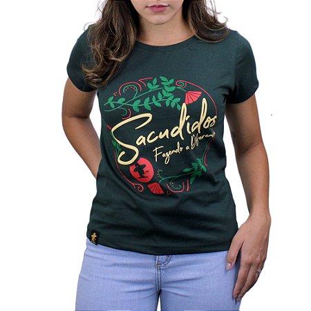 Camiseta Sacudido's Feminina - Floral -Verde Musgo