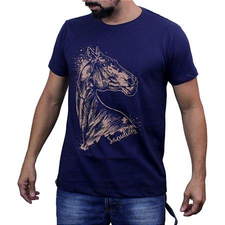 Camiseta Sacudido's - Cavalo Desenhado - Marinho