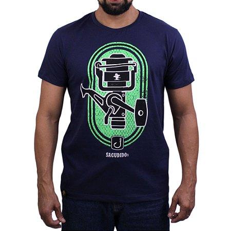 Camiseta Sacudido's - Pescaria - Molinete -Marinho