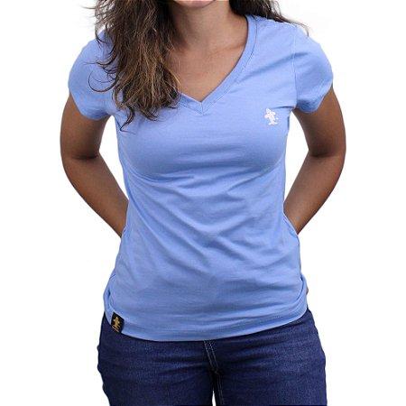 Camiseta SCD's Feminina Básica - Azul Bebê /Branco