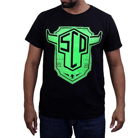 Camiseta Sacudido's - Logo Boi Verde - Preto