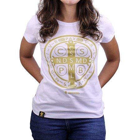 Camiseta Sacudido's Feminina - São Bento - Branca