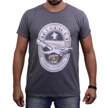 Camiseta Sacudido's - Dedo Homem Cavalo - Chumbo