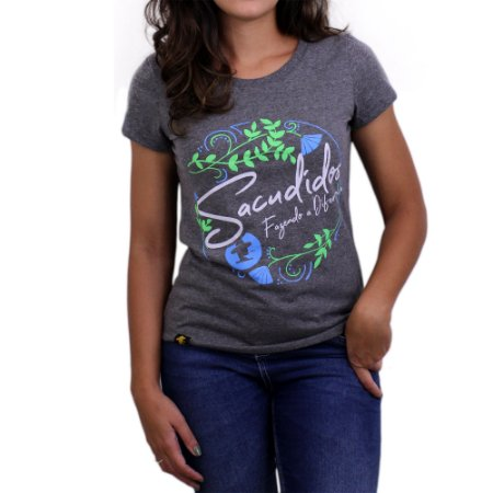 Camiseta Sacudido's Feminina -Floral-Mescla Escuro