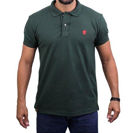 Camiseta Polo Sacudido's - Verde Musgo-Vermelho