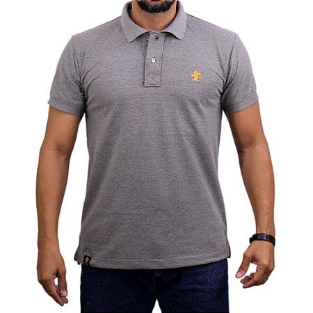 Camiseta Polo Sacudido's - Cinza Mescla-Laranja