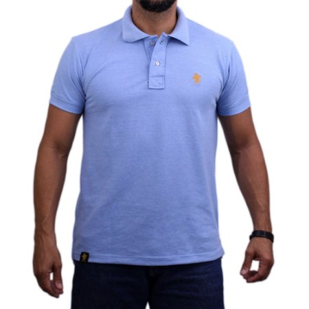 Camiseta Polo Sacudido's - Azul Claro-Laranja