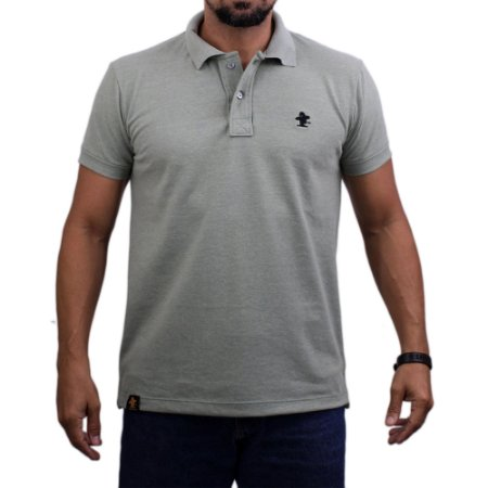 Camiseta Polo Sacudido's - Verde Mescla-Preto