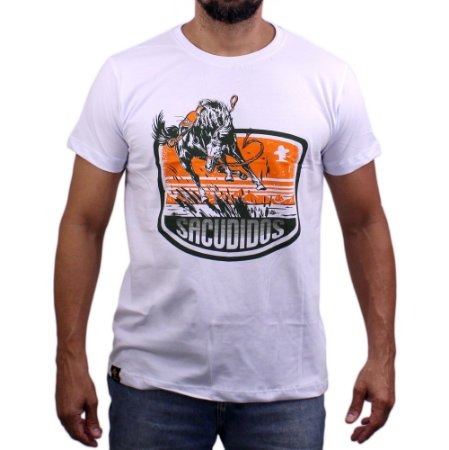 Camiseta Sacudido's - Cavalo Saltando - Branco