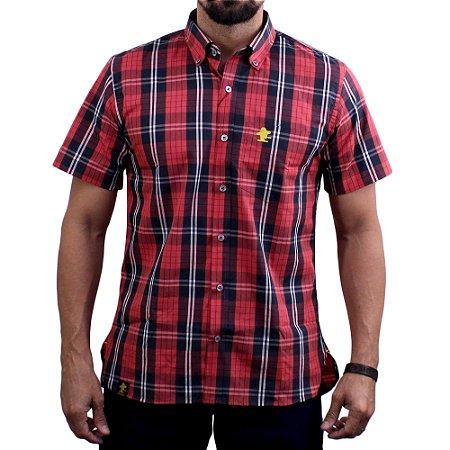 Camisa Manga Curta Sacudido's Xadrez - Vermelho