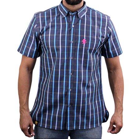 Camisa Manga Curta Sacudido's Xadrez - Azul