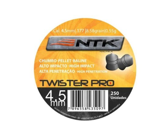 Chumbinho Twister Pro 4.5mm 250 Unidades - NTK