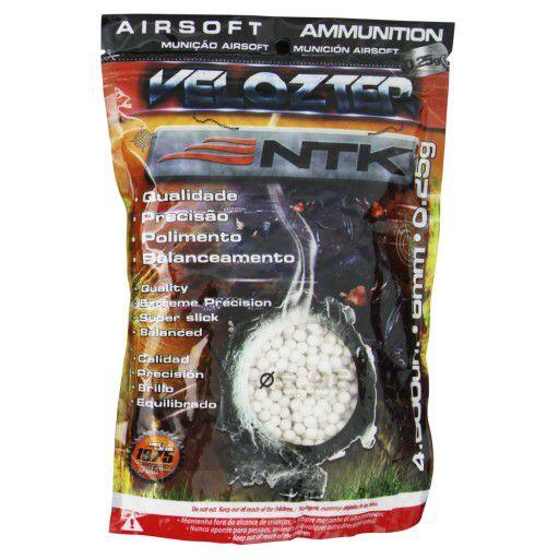 Esferas Plásticas BBs para Airsoft 4000un. 0,25g Velozter NTK