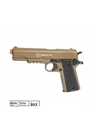 Pistola Airsoft Colt 1911 A1 Metal Slide TAN CyberGun