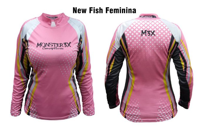 Camiseta de Pesca New Fish Feminina Monster 3x
