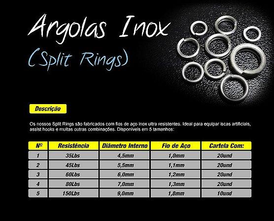 Argolas Inox (Split Rings) Pacote Com 20un - Borboleta