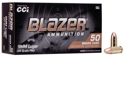 Munição Calibre 9mm 124 GR FMJ BLAZER - BRASS