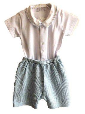 Conjunto short tricot links com body pesponto