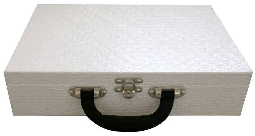 b9252fc880c Maleta Estojo Luxo Porta Jóias Grande Dupla Espelho - Branca com Preto