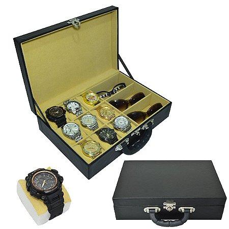 Maleta para Relógios 9 Nichos Óculos 3 Nichos sem visor e interior Aveludado Bege