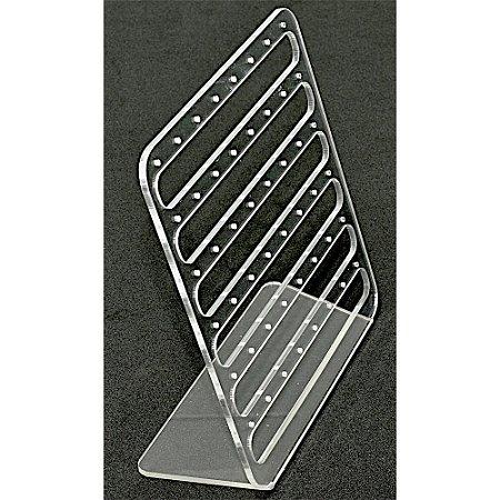 Expositor Acrílico Para Brinco- Vazado - 48 Furos Cristal Incolor